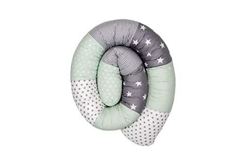 ULLENBOOM ® Baby Bettschlange 200x13 cm Mint Grau (Made in EU) - Nestchenschlange für das Babybett, Bezug: 100% ÖkoTex Baumwolle, Bettrolle zur Bettumrandung im Kinderbett, Motiv: Sterne