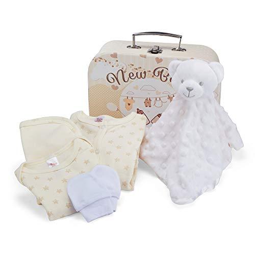Baby-Geschenk-Set – neutrale Geschenkbox, mit Babyzubehör, inklusive Schmusetuch, Body, Schlafanzug, Baumwoll-Lätzchen und Fäustlinge