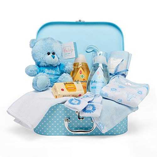 Baby Gift Set - Blue Hamper Full of Baby Products in Baby Boy Keepsake Box