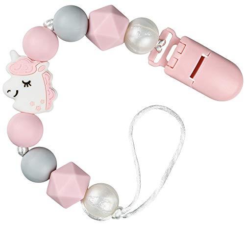 PREMYO Baby Schnullerkette Mädchen Einhorn - Silikon-Perlen Bunt Eckig mit Clip - Universal Ohne Namen - Rosa