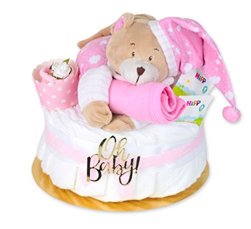 Trend Mama Windeltorte Mädchen -Traum in rosa- mit Spieluhr Bär-rosa Lätzchen-Baby Tee-Babysocken als Muffin dekoriert-