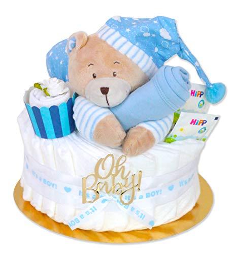 Trend Mama Windeltorte Junge -Traum in hellblau- mit Spieluhr Bär-hellblaues Lätzchen-Baby Tee-Babysocken als Muffin dekoriert-