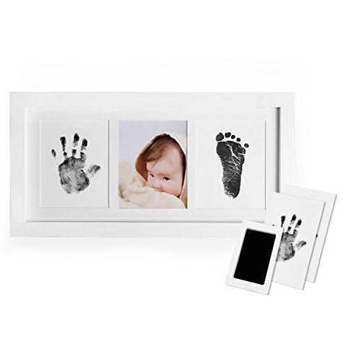 Norjews Baby Handabdruck und Fußabdruck Fotoalbum mit Zwei'CleanTouch' Stempelkissen und Vier Druckkarten - Babyhaut kommt nicht mit Farbe in Berührung, Das ideale Babyparty Geschenk
