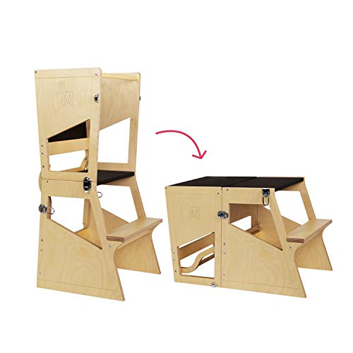 Bianconiglio Kids Moka TRS Learning Tower Montessori transformiert in Tisch - Kitchen Helper (Holz und Tafel)