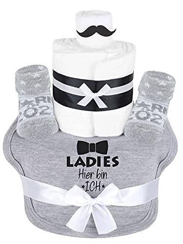 Trend Mama Windeltorte grau Junge Lätzchen Babysocken Ladies Hier bin ich, Grau Meliert, Einheitsgröße