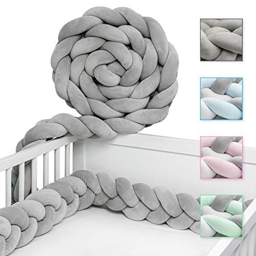 JAKOR® Bettschlange geflochten 2M - geprüfte Laborqualität - Bettumrandung geflochten inkl. Wäschenetz - Babybettumrandung - Bettumrandung Babybett – Bettschlange 200 cm (Grau)