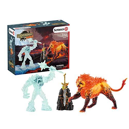 Schleich 42455 Eldrador Creatures Spielset - Kampf um die Superwaffe - Frostmonster vs. Feuerlöwe, Spielzeug ab 7 Jahren