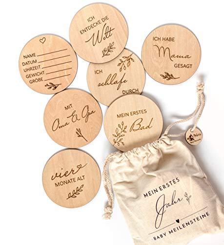 Holz Meilensteinkarten Baby auf deutsch - 30 Meilensteine auf edlen Holzscheiben als Geschenk zur Geburt/zur Babyparty für Schwangere, werdende Mütter, werdende Eltern.