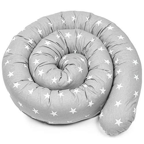 Bettschlange baby Nestchenschlange Bettrolle kissen rolle - 150 cm Bettumrandung Babybettschlange Babybett umrandungen Babynestchen für Kinderbett grau mit weißen Sternen