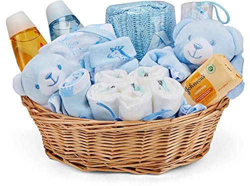 Baby Box Shop - Korb für Taufgeschenke Jungen mit Baby Sachen, Notwendigen für Neugeborene, Tuch, Einhorn Schnuller und Rassel