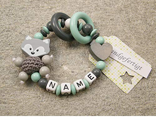 Baby Greifling Beißring geschlossen mit Namen - individuelles Holz Lernspielzeug als Geschenk zur Geburt Taufe - Mädchen Jungen Motiv Fuchs und Herz in grau mint
